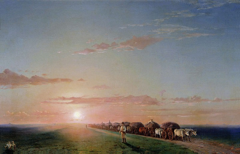 waggons in the steppe. Ivan Konstantinovich Aivazovsky