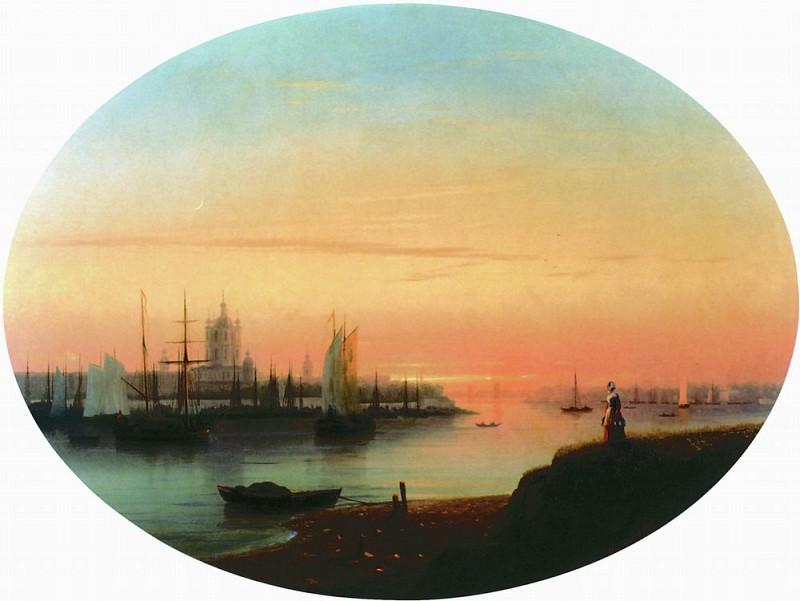 Смольный монастырь. Закат солнца 1847 42х60. Иван Константинович Айвазовский