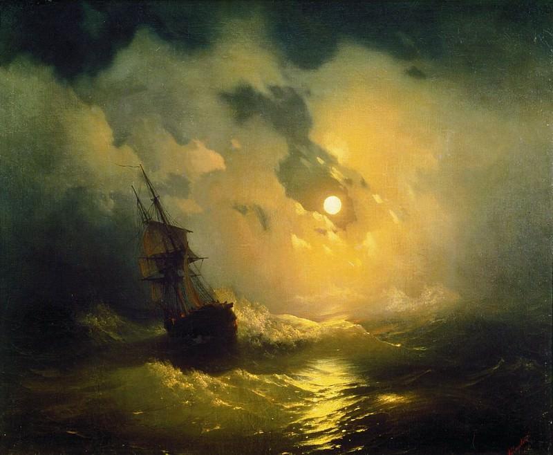Storm on the sea at night 89h106 1849. Ivan Konstantinovich Aivazovsky