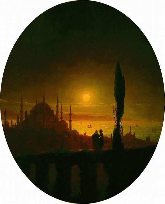 Moonlit night beside the sea in 1847 64,5 X52, 5. Ivan Konstantinovich Aivazovsky