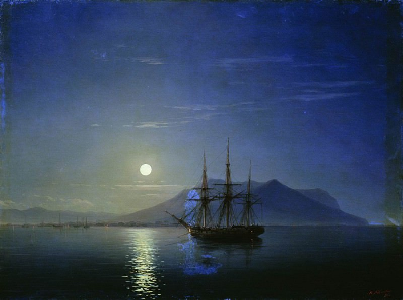 Sailing off the coast of the Crimea in the moonlit night in 1858 47h64. Ivan Konstantinovich Aivazovsky