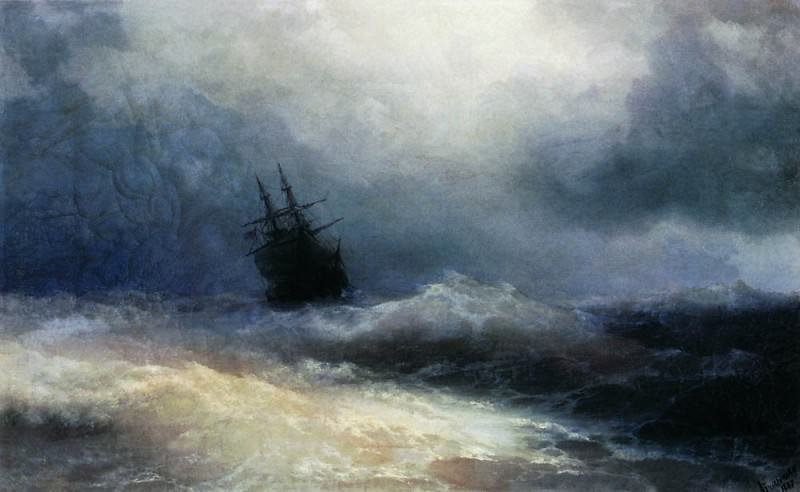 ship in a storm in 1887 45h74. Ivan Konstantinovich Aivazovsky