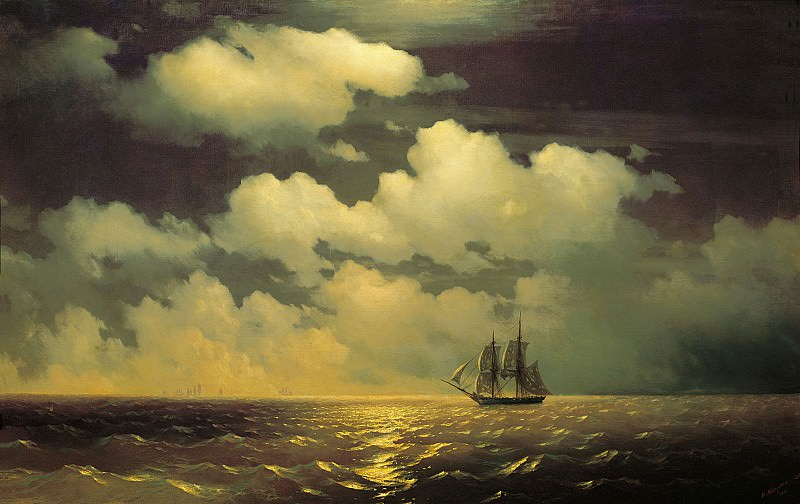 Brig Mercury after the victory over two Turkish vessels with the Russian fleet in 1848. Ivan Konstantinovich Aivazovsky