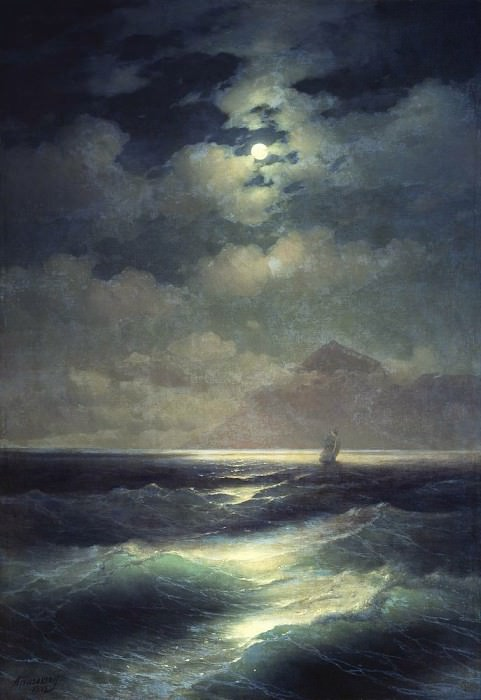 Sea view with the moon 1878 213,5 h148. Ivan Konstantinovich Aivazovsky