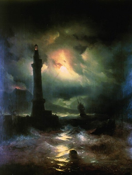 Neapolitan Lighthouse 1842 87h69. Ivan Konstantinovich Aivazovsky