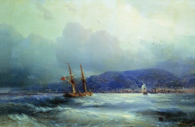 Трапезунд с моря 1856 27.1х41.1. Иван Константинович Айвазовский