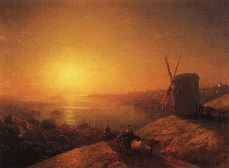 Mill on the river bank. Ukraine 1880 32,3 h43, 8. Ivan Konstantinovich Aivazovsky