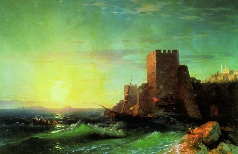 Towers on a rock near the Bosphorus 1859 107h161. Ivan Konstantinovich Aivazovsky