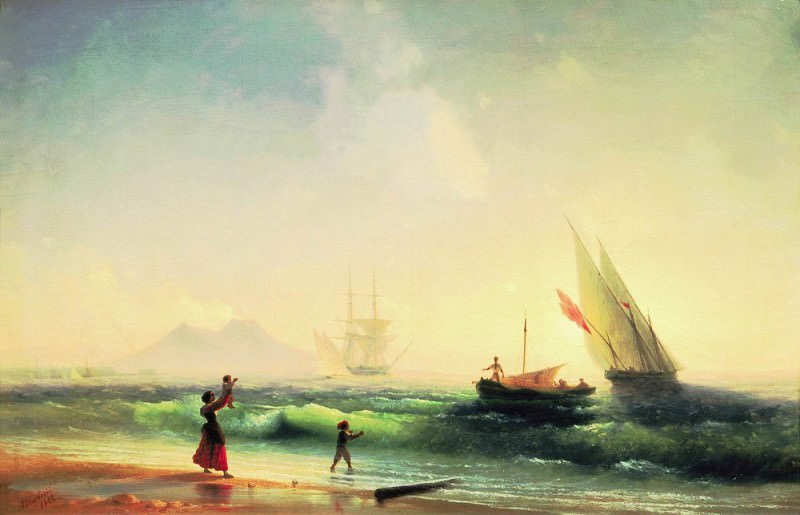 Meeting fishermen on the shore of the Bay of Naples 1842 58h85. Ivan Konstantinovich Aivazovsky