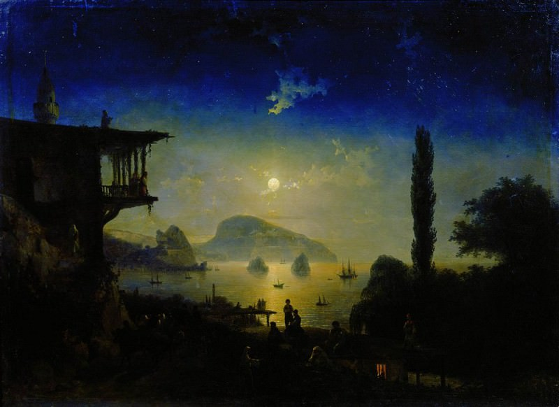 Moonlit Night in the Crimea. Gurzuf 1839 101h136, 5. Ivan Konstantinovich Aivazovsky