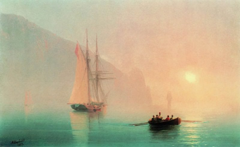 Ayu-Dag on a foggy day in 1853 28h36. Ivan Konstantinovich Aivazovsky