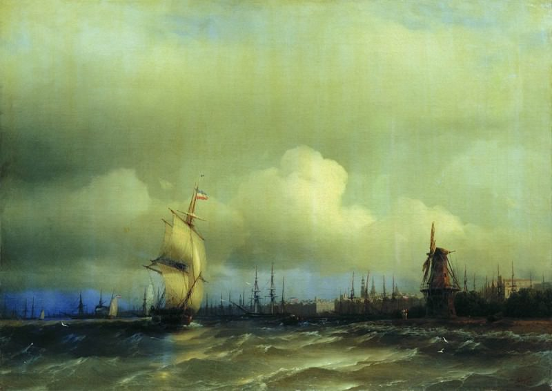 Вид Амстердама 1854 59,5х84,8. Иван Константинович Айвазовский