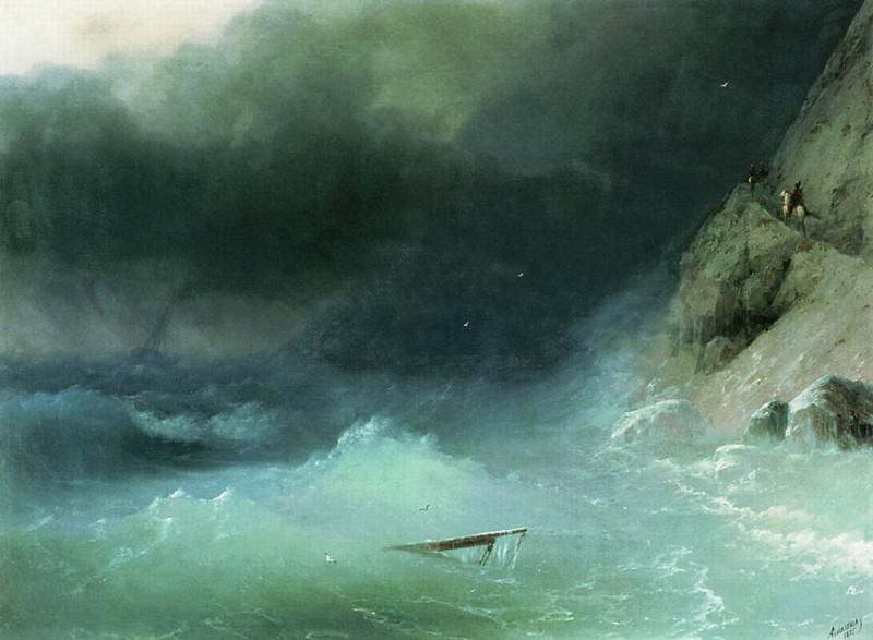 Storm at rocky shores 73h102 1875. Ivan Konstantinovich Aivazovsky