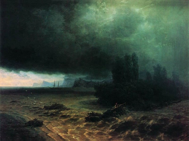 Rain in Sudak 1897 106h141. Ivan Konstantinovich Aivazovsky