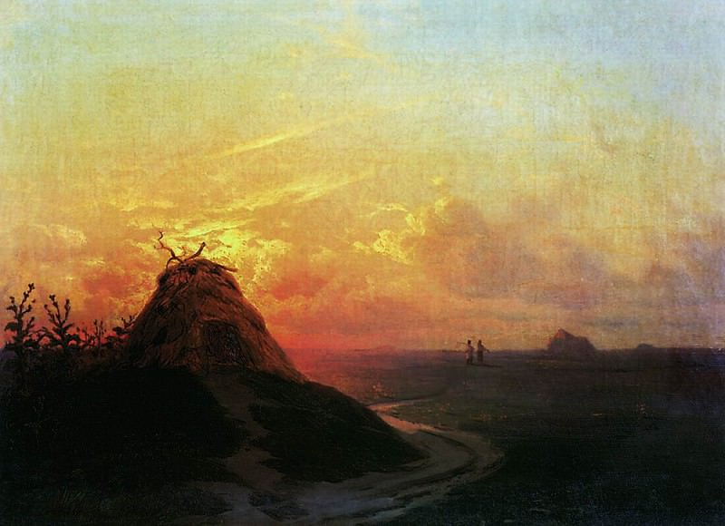 Compressed field. Sunset 1861 26h36. Ivan Konstantinovich Aivazovsky