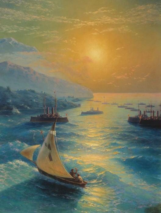 Ships at the Feodosiya raid. Honoring Aivazovskogo on the occasion of his 80 th anniversary. 1897 144h107. Ivan Konstantinovich Aivazovsky