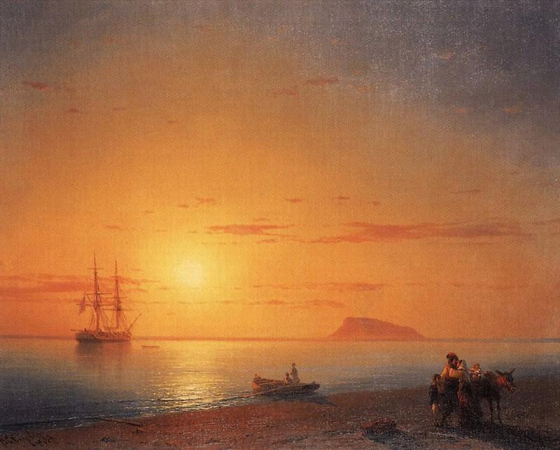Sea coast. Farewell 1868 56,5 h75. Ivan Konstantinovich Aivazovsky