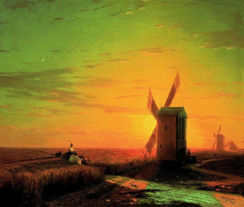 Ветряные мельницы в украинскойСтепи при закате солнца 1862 51х60. Иван Константинович Айвазовский