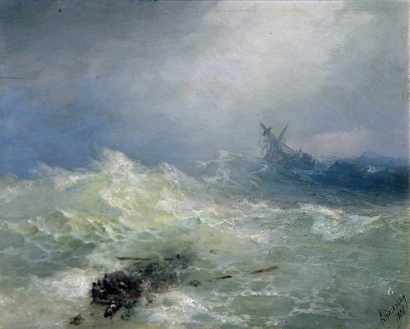 Tempest 1886. Oil on panel 22,3 x15, 9. Ivan Konstantinovich Aivazovsky