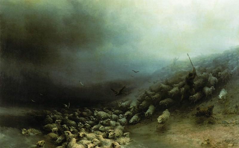 flock in a storm in 1861 76h125. Ivan Konstantinovich Aivazovsky