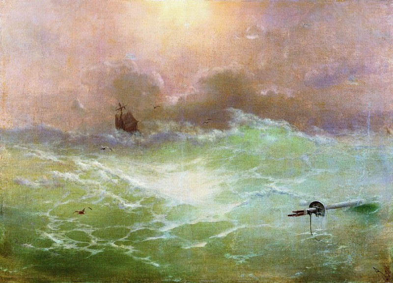 ship in a storm in 1896 79h97. Ivan Konstantinovich Aivazovsky