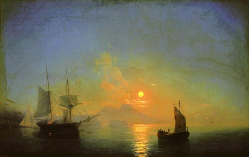 Bay of Naples by Moonlight 1858 121h191. Ivan Konstantinovich Aivazovsky