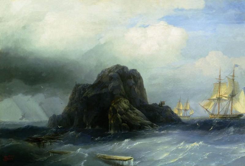 rocky island in 1855 66h90. Ivan Konstantinovich Aivazovsky