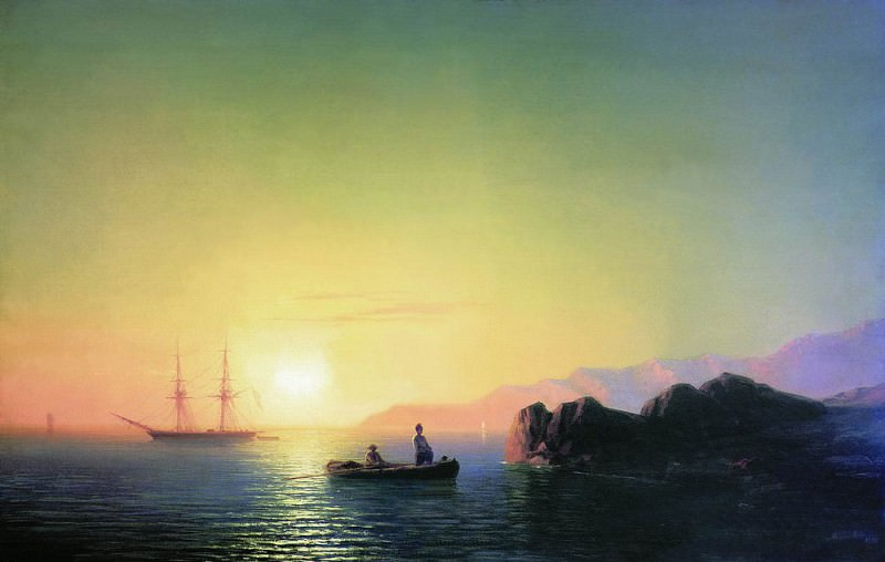 Sunset at the Crimean coast in 1856 58,5 h83, 7. Ivan Konstantinovich Aivazovsky