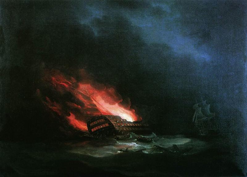 burning ship. One Russian-Turkish War. Ivan Konstantinovich Aivazovsky