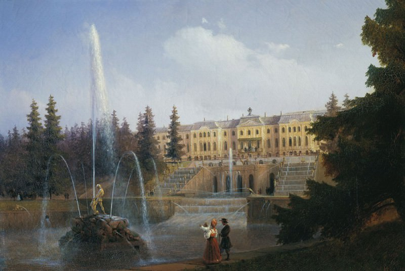 View on the Grand Cascade and the Grand Peterhof Palace 1837. Ivan Konstantinovich Aivazovsky