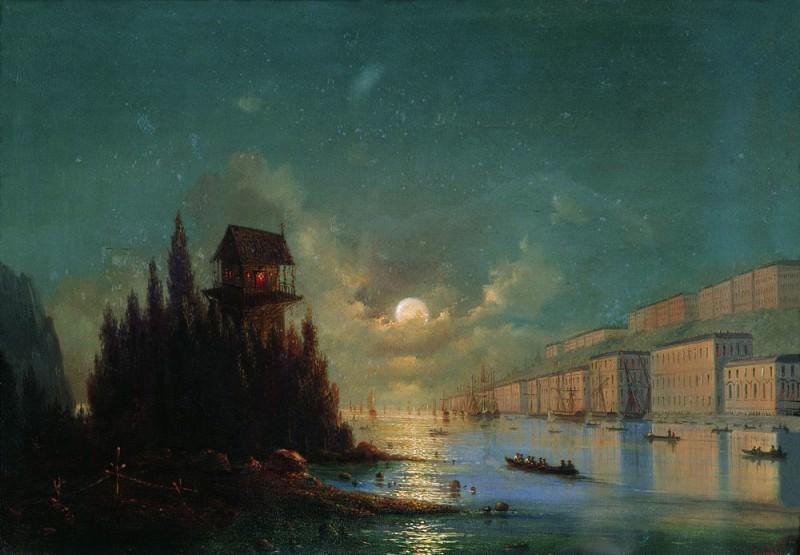 Вид приморского города вечером с зажжённым маяком 1870-е 27х37. Иван Константинович Айвазовский