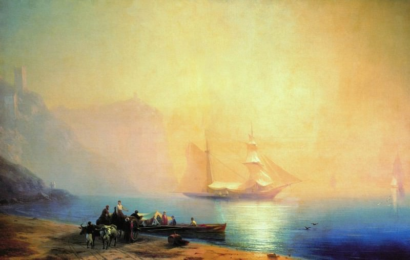 Morning on the beach. Sudak 1856 96h146. Ivan Konstantinovich Aivazovsky