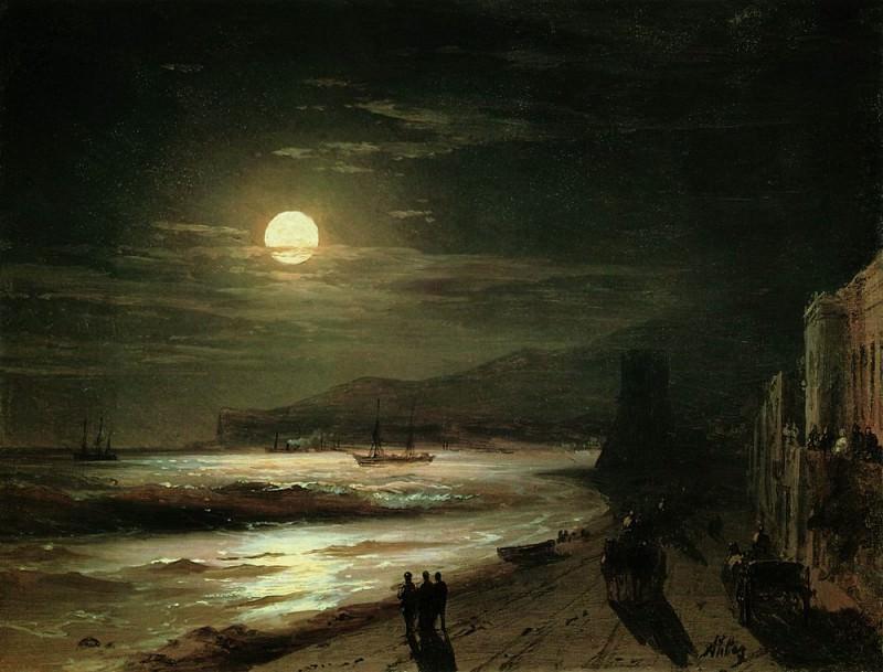 Moonlit Night. Seashore 1885 18h23, 9. Ivan Konstantinovich Aivazovsky