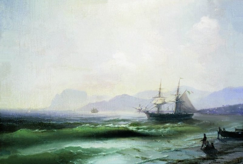 Беспокойное море 1877 43х63. Иван Константинович Айвазовский