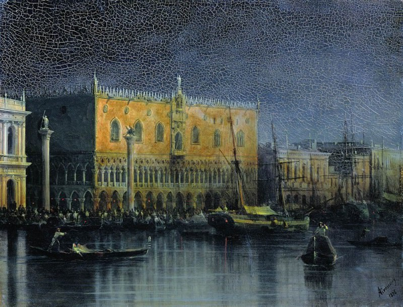 Palace rains in Venice by moonlight, 1878 34h44. Ivan Konstantinovich Aivazovsky