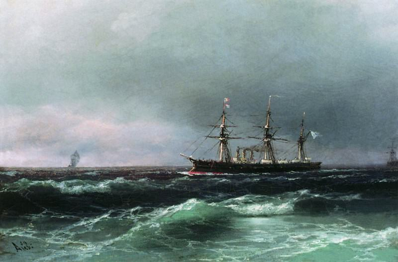 Ship at sea 1870 28x40. Ivan Konstantinovich Aivazovsky