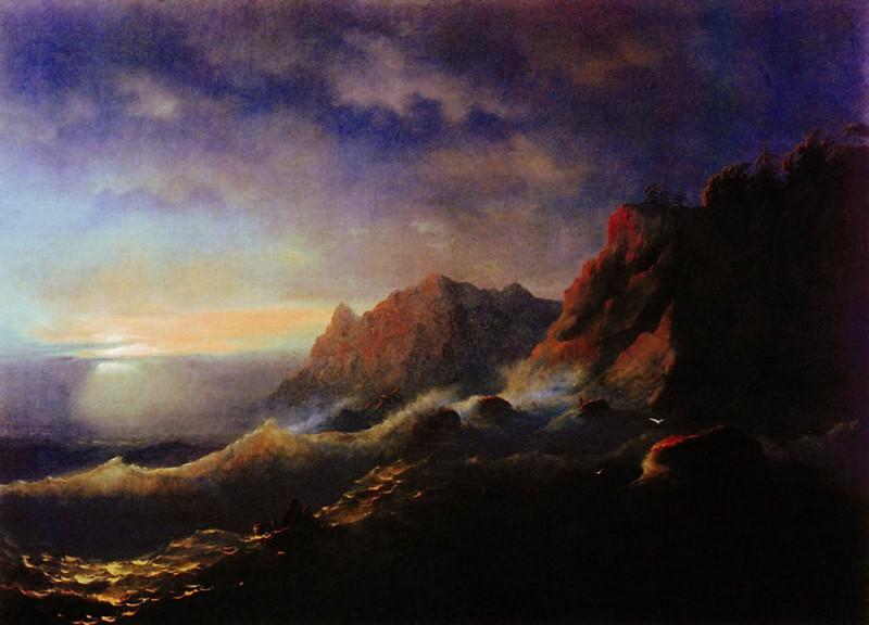 Storm. Sunset 1856 67h89. Ivan Konstantinovich Aivazovsky