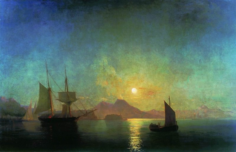 Kind of Vesuvius by Moonlight 1858 121h190. Ivan Konstantinovich Aivazovsky