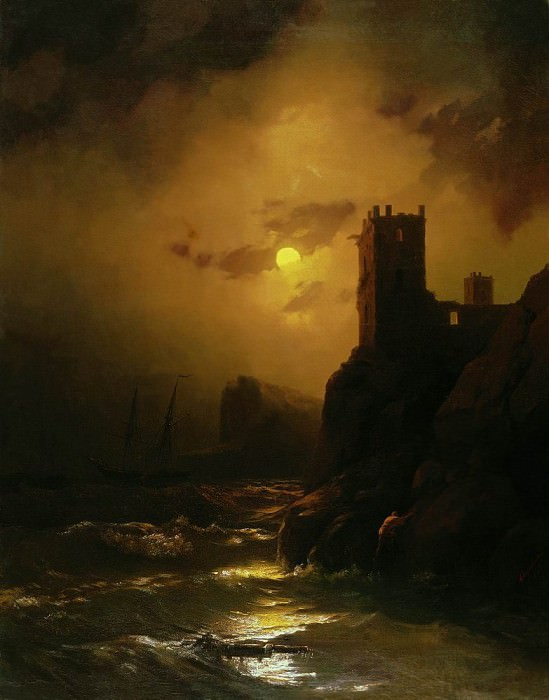 Tower. Shipwrecked 1847 77h61. Ivan Konstantinovich Aivazovsky