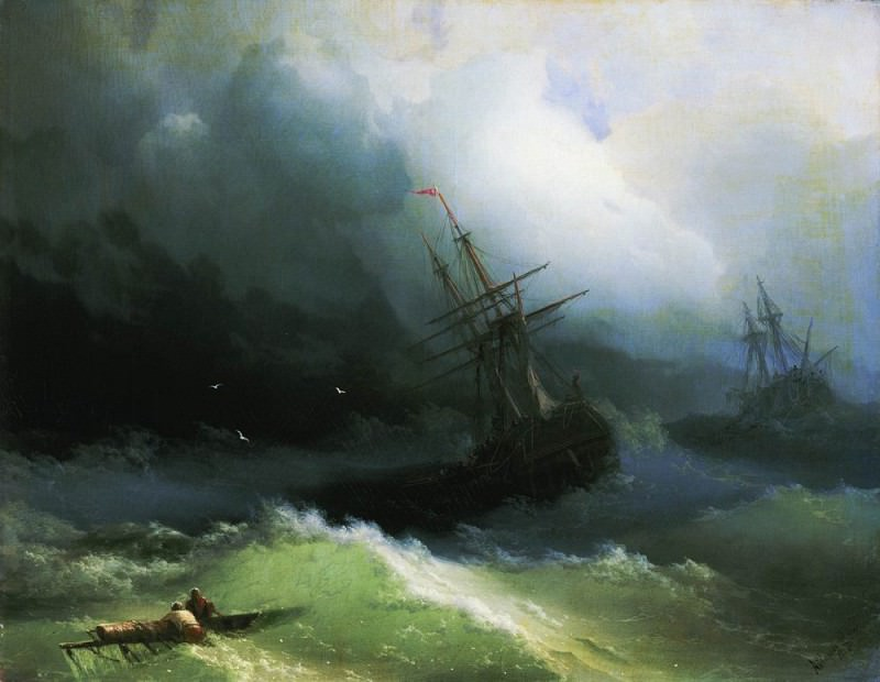 Ships on the stormy sea 1866 61h78, 2. Ivan Konstantinovich Aivazovsky