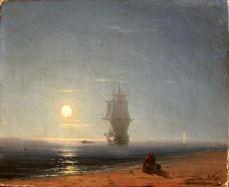Лунная ночь 1857 21,5х26,5. Иван Константинович Айвазовский