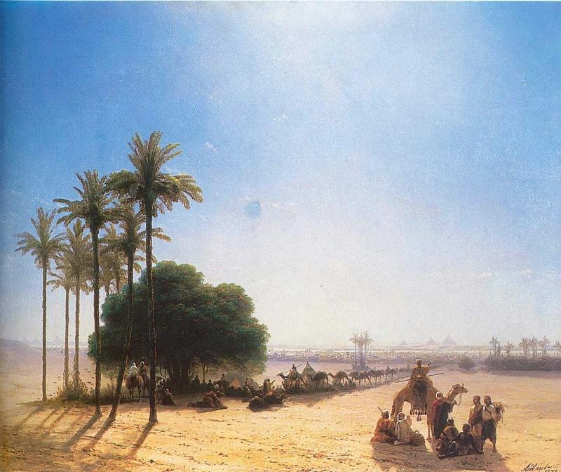 Caravan in the oasis. Egypt. Ivan Konstantinovich Aivazovsky