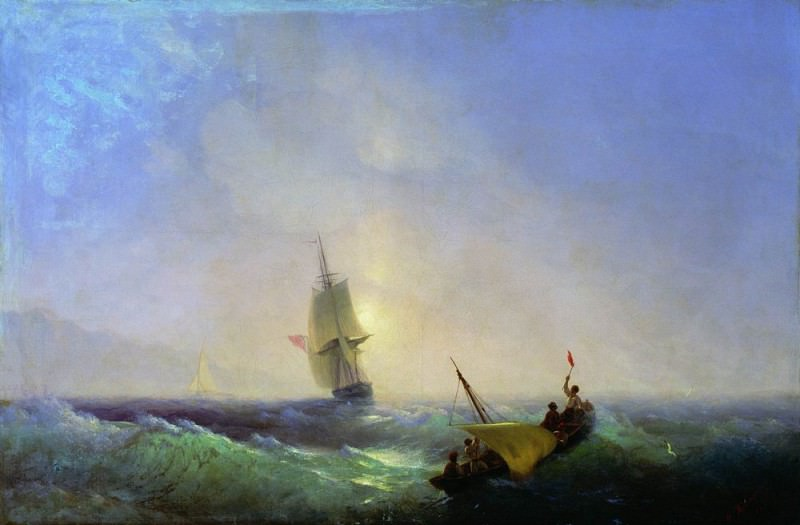 escaping from shipwreck 1844 57h85. Ivan Konstantinovich Aivazovsky