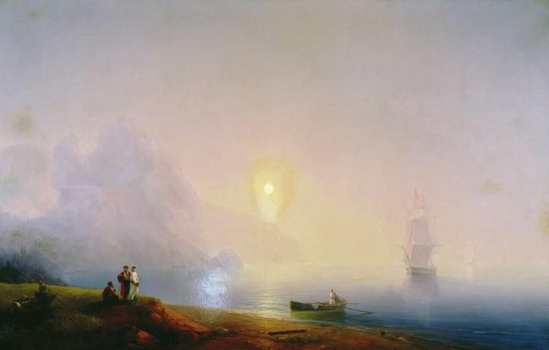 Берег моря.Туманное утро 1850-е 135х210. Иван Константинович Айвазовский
