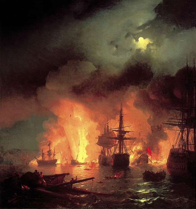Battle of the night from 25 to 26 June 1770 1848 220h188. Ivan Konstantinovich Aivazovsky