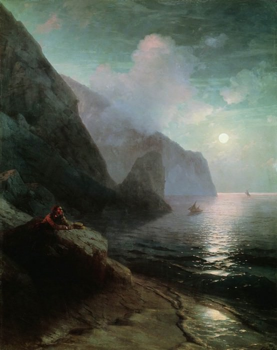A. Pushkin in the Crimea at Gurzuf rocks 198h156 1880. Ivan Konstantinovich Aivazovsky