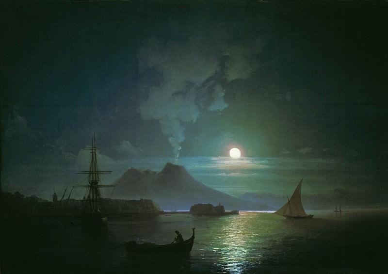 Naples by Moonlight. Vesuvius 1870 62h80. Ivan Konstantinovich Aivazovsky