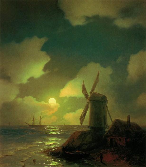 Mill on the beach 1851 50h57. Ivan Konstantinovich Aivazovsky