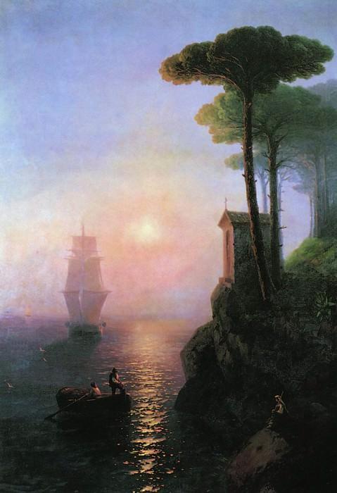 Foggy morning in Italy 1864 208h149. Ivan Konstantinovich Aivazovsky