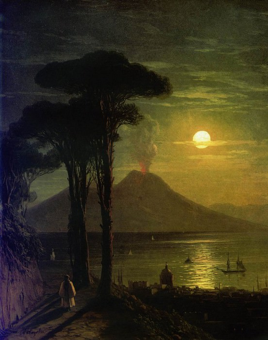 Bay of Naples by Moonlight. Vesuvius 1840 26,8 x20. Ivan Konstantinovich Aivazovsky